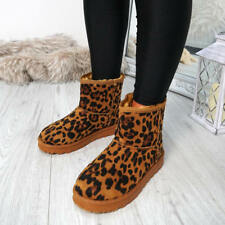 WOMENS LADIES LEOPARD PRINT ANKLE BOOTS SLIP ON FUR LINED WINTER SHOES SIZE