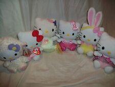 "Lot 6 Ty Hello Kitty Beanie Babies Mermaid Lamb Plush Doll 6.5"""