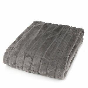 Grey K by Kelly Hoppen Soft Faux Fur Ribbed Design Throw - 150 x 200cm - new