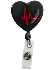 MEDICAL Retracteze™ ID Holder  EKG Heart Black Model S13 Free Shipping