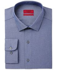 $95 ALFANI Men FITTED STRETCH BLUE WHITE LONG-SLEEVE DRESS SHIRT 15-15.5 32/33 M