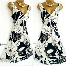 PHASE EIGHT size 16 18 black white floral 100% silk fit & flare occasion dress