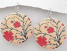"2.8"" long Painted Red Cherry Blossom Flowers Wood Dangle Earrings FEMININE"