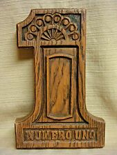 """Woodgrain Composite Plaque Shaped Like the Number One """"Numero Uno"""""""