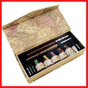 Hethrone Caligraphy Set Wood Stem Dip Pen and Glass Dip Pen Set with 6 Nibs and