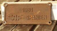 Lokschild, Fabrikschild,Typenschild CAF Spanien von 1981 Herstellerschild