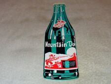"VINTAGE MOUNTAIN DEW HILLBILLY 15"" X 4"" BAKED METAL SODA POP GASOLINE & OIL SIGN"