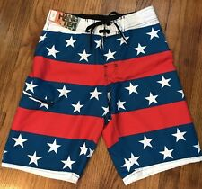 NEW WITH TAGS MEN'S HANG TEN BOARD SHORTS USA  STARS & STRIPES SZ 28