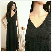Vintage 60s Blanes Black Lace Cocktail Maxi Evening Dress Mod Glam Chic 10 38