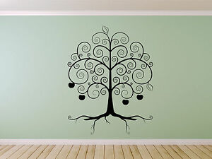 Swirly Apple Family Tree Branches Wall decal sticker art. Any colour or size.