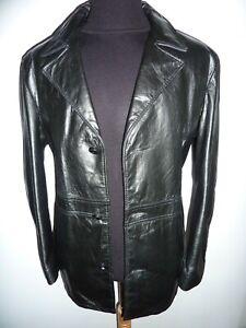 Men's Vintage 1970s Black Leather Box Jacket Coat Safari Blazer Sz 44