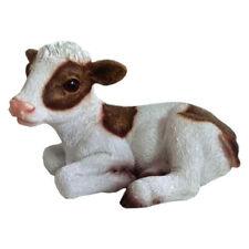Calf Cow Statue Ornament Figurine Garden Sculpture Art Decor Brown