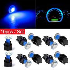 10Pcs T5 12V Blue Instrument Panel Cluster LED Dash Light Bulb W/ Twist Sockets