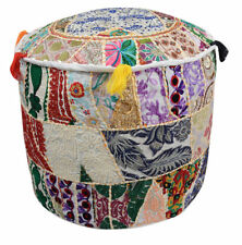 """22"""" Vintage Embroidered Patchwork Round Decorative Floor Pillow Cushion Cover"""