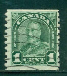 CANADA 179 SG305 Used 1931 1c grn KGV Arch/Leaf Perf 8&1/2 Vert Coil Cat$6