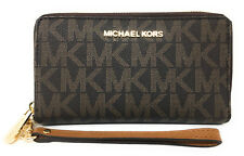 Michael Kors Fulton Brown PVC Signature Large Phone Case Wristlet