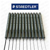 12 x Staedtler 308 Pigment Liner - Full Range Set Black Ink [1 of each nib size]