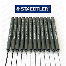 12 X Staedtler 308 Pigmento Liner-conjunto de gama completa de tinta negra [1 de cada tamaño de plumilla]