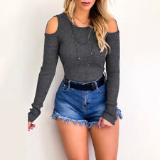 Womens Cold Shoulder Blouse Tops Long Sleeve Knitted T-shirt Ladies Jumpers`UK