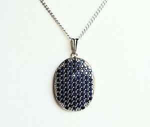 33x19mm Luxury 5.4g Blue Sapphire  Silver Pendant