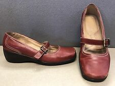NATURALIZER Mary Janes 8 M Ashina Wedge Red Heels Shoes Leather Buckle Slip on