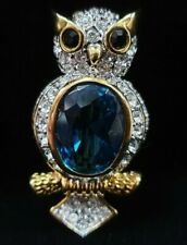 BLUE & CLEAR GLASS OR CRYSTAL OWL BROOCH PIN