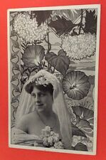 CPA. Jeune Mariée. Art Nouveau. Liseron. Hortensia. Coiffure. Voile. Mariage.
