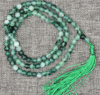 6MM STONE BUDDHIST WHITE GREEN EMERALD 108 PRAYER BEADS MALA BRACELET NECKLACE
