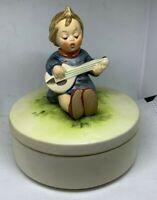 "Vintage Goebel HUMMEL ""Joyful"" Covered Box TMK 3, 5"" in diameter (1960-72)"