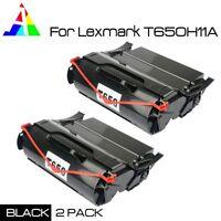 2 PK Black Toner for Lexmark T650 T652 T654 T656 T650N T656DNE T650H21A T650H11A