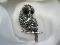 Silver Tone Jet & Clear Rhinestone Perched Owl Bird Animal Costume Brooch Pin