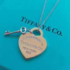 Please Return To Tiffany & Co. Heart Tag & Key Necklace Pendant Sterling Silver