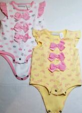 First Impressions Girl's Lot of 2 One Pieces with Bows Pink and Yellow