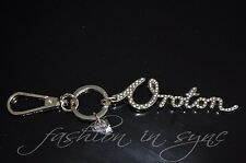 Oroton Calligraphy Key Fob Bag Charm Crystals in Light Gold RRP $65.00