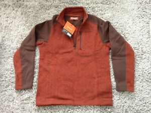 Simms Rivershed Fleece Sweater - Zip Neck M Rusty Red