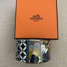 Trim Bangle Size 70 Large New Hermes Enamel Wide Bracelet Multi Printed Silver