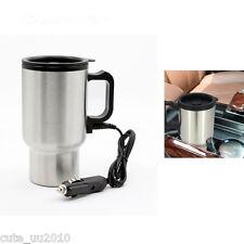 Car Stainless Steel Travel Coffee Mug 12V Heated Thermos Plug Into Cigar Lighter