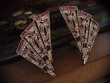 Butler & Wilson Vintage Deco Amethyst & Black Diamond Crystal Clip Earrings Rare