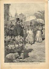 Stampa antica NAPOLI il giorno di Pasqua 1894 Old antique print