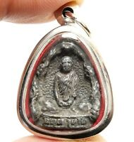 THAI AMULET PENDANT BLESSED 1976 LP PANG LUCKY RICH WEALTH PROSPERITY CALL MONEY