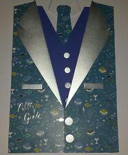 Glückwunschkarte Sakko mit Weste zur Kommunion / Konfirmation blau