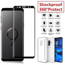 Samsung Galaxy S8 S9 Plus Note TPU Case Cover + Tempered Glass Screen Protector