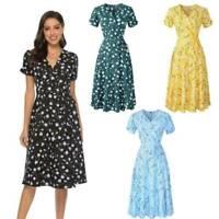 Women Summer V Neck Short Sleeve Boho Floral Midi Chiffon Dress Sundress Holiday