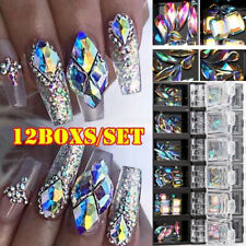 3D AB Diamond Gems Nail Glitter Rhinestone Crystal Glass Nail Art Decor 12 Boxes