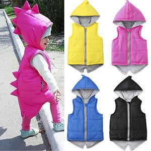 Toddler Kids Baby Girls Boys Dinosaur Hooded Jacket Winter Coat Vest Outerwear