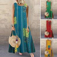 Womens Summer Bohemia Sleeveless Casual Loose Kaftan Baggy Long Maxi Party Dress