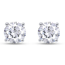 4 Ct Simulated Solitaire Stud Earrings in Solid 14k Real White Gold Screw Back