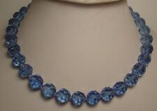 Faceted Crystal Blue Glass Necklace (N762F)