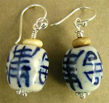 Chinese ceramic earrings. Blue, white. Characters. Sterling silver 925. Handmade
