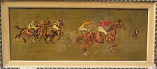 Horserace from the early 20th century, great hand-painted wooden engraving